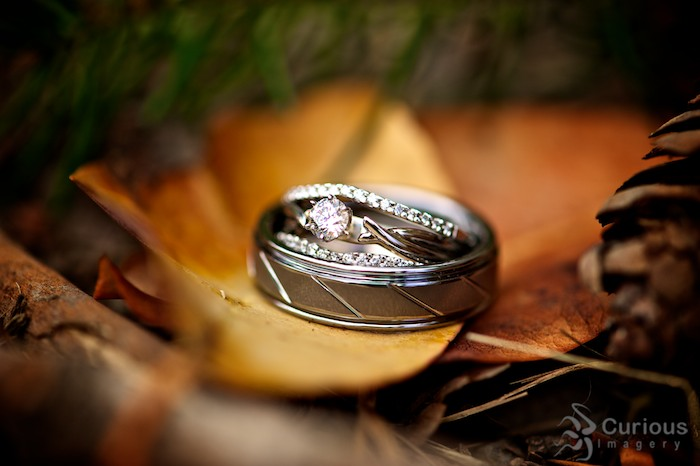 beautiful detail of bride and groom's rings on fall leaf.
