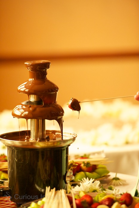 Strawberry in chocolate fountain.
