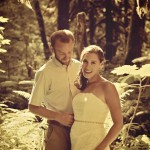 Cross processed wedding photo edit, couple in forest